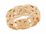 Scrolls and Flowers Mid Century Filigree Wedding Ring in 14 Karat Rose ( Pink ) Gold | Reproduction Vintage 1950's Wedding Band