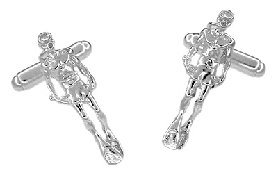 Scuba Diver Cufflinks in Sterling Silver