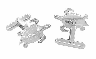Sea Turtle Cufflinks in Sterling Silver - Item SCL133 - Image 1