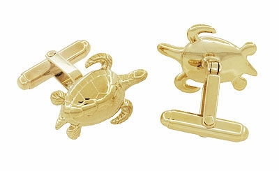 Sea Turtle Cufflinks in Sterling Silver with Yellow Gold Finish - Item SCL133Y - Image 1