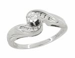 Secret Hearts Diamond Twist Ring in 14 Karat White Gold