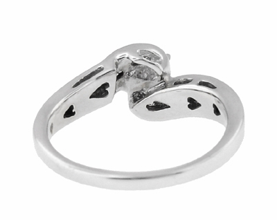 Secret Hearts Diamond Twist Ring in 14 Karat White Gold - Item R787 - Image 3