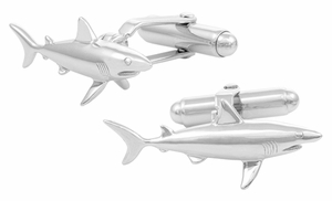 Shark Cufflinks in Sterling Silver  - Item SCL167 - Image 1