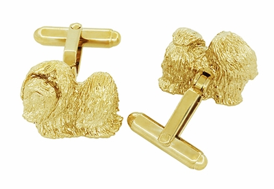 Shih-Tzu Cufflinks in Sterling Silver with Yellow Gold Finish - Item SCL232Y - Image 2