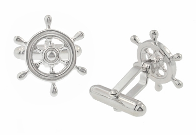 Ship's Wheel Nautical Cufflinks in Solid Sterling Silver  - Item SCL112 - Image 1