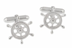 Ship's Wheel Nautical Cufflinks in Solid Sterling Silver
