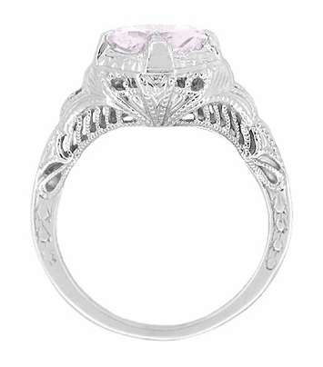 Art Deco Engraved Filigree Rose de France Amethyst Promise Ring in Sterling Silver | Antique Inspired - Item SSR161RF - Image 1