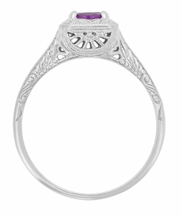 Art Deco Filigree Scrolls Engraved Amethyst Engagement Ring in 14 Karat White Gold - Item R183WAM - Image 1