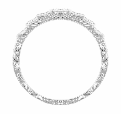 Art Deco Platinum and Diamond Engraved Wedding Band - Item DWR135P - Image 2
