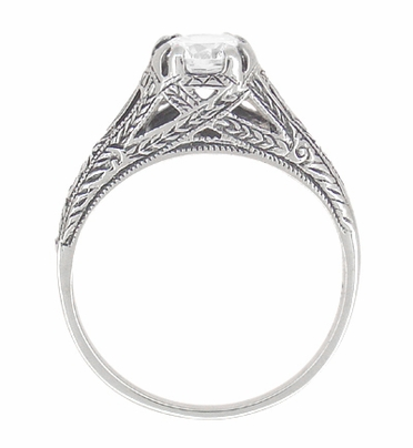 Art Deco White Topaz Filigree Engraved Promise Ring in Sterling Silver - Item SSR2WT - Image 3