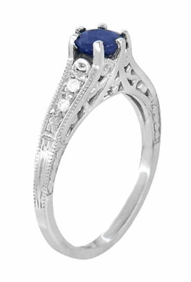 Art Deco Filigree Blue Sapphire Engagement Ring with Diamond Side Stones  in 14K White Gold  - Item R158 - Image 2