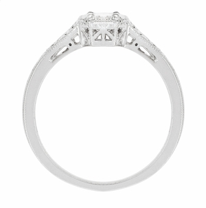 Filigree Diamond Art Deco Engagement Ring in 18 Karat White Gold - Item R298WD - Image 2
