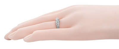 Art Deco Filigree Wedding Ring in 14 Karat White Gold - Item WR428W - Image 6