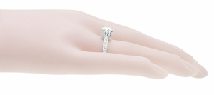 Art Deco Crown Filigree Scrolls 1.23 Carat Solitaire Diamond Engraved Engagement Ring in 18 Karat White Gold - Item R199WD125 - Image 8