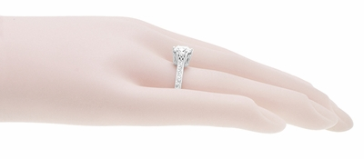 Art Deco Filigree Scrolls Tiara Crown 1.19 Carat Solitaire Diamond Engraved Engagement Ring in 18 Karat White Gold - Item R199WD125 - Image 8