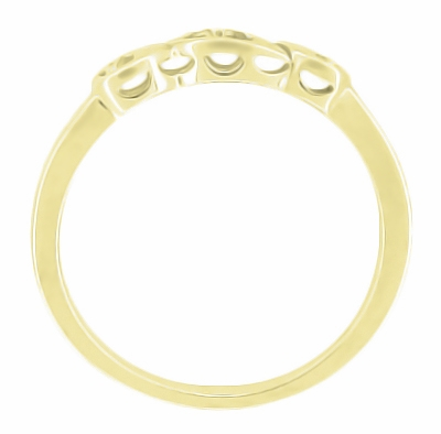 Retro Moderne 14 Karat Yellow Gold Filigree Diamond Wedding Ring - Item WR380Y - Image 1