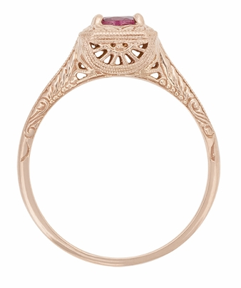 Rhodolite Garnet Filigree Scrolls Engraved Engagement Ring in 14 Karat Rose ( Pink ) Gold - Item R182R - Image 1