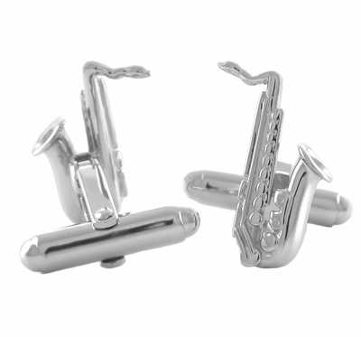 Saxophone Cufflinks in Sterling Silver  - Item SCL168 - Image 1