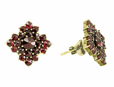 Victorian Bohemian Garnet Galaxy Square Stud Earrings in 14 Karat Yellow Gold and Sterling Silver Vermeil - Item E143S - Image 1