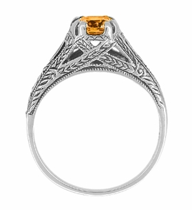 Art Deco Filigree Engraved Citrine Ring in Sterling Silver - Click to enlarge