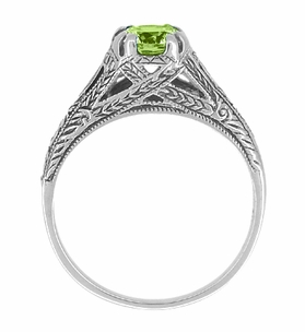Art Deco Filigree Engraved Peridot Ring in Sterling Silver - Item SSR8 - Image 1