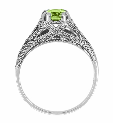 Art Deco Filigree Engraved Peridot Promise Ring in Sterling Silver - Item SSR8 - Image 1