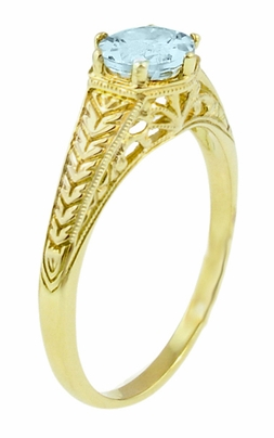 Art Deco Scrolls and Engraved Wheat Aquamarine Solitaire Filigree Engagement Ring in 18 Karat Yellow Gold - Item R688YA - Image 1