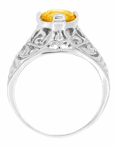 Edwardian Citrine Filigree Engagement Ring in 14 Karat White Gold - November Birthstone - Click to enlarge