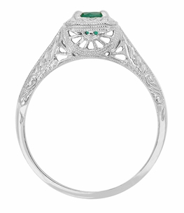 Emerald  Scrolls Engraved Filigree Engagement Ring in 14 Karat White Gold - Item R183 - Image 1