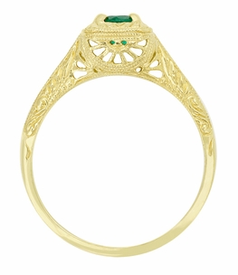 Engraved Scrolls Filigree Emerald Engagement Ring in 14 Karat Yellow Gold - Item R183Y - Image 1