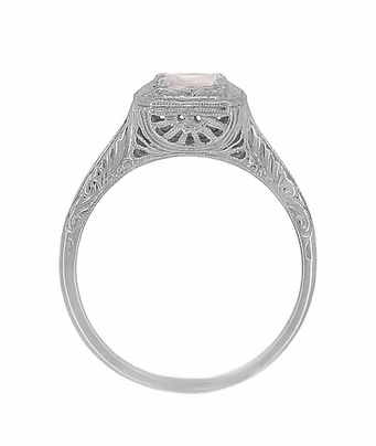 Filigree Scrolls Engraved Morganite Engagement Ring in 14 Karat White Gold - Item R183WM - Image 1
