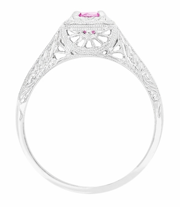 Filigree Scrolls Engraved Platinum Pink Sapphire Art Deco Engagement Ring  - Item R183PPS - Image 1