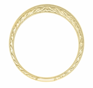 Art Deco Curved Engraved Wheat Wedding Band in 18 Karat Yellow Gold - Item R635Y - Image 1