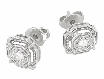 Art Deco Diamond Stud Earrings in 18 Karat White Gold - Item E153 - Image 1