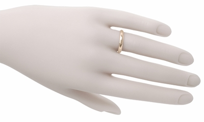 Size 8 | 3mm Half Round Vintage 14K Rose Gold Wedding Ring - Item R855R - Image 1