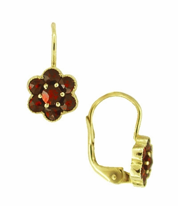 Small Bohemian Garnet Victorian Drop Earrings in 14 Karat Yellow Gold and Sterling Silver Vermeil - Item E130 - Image 1