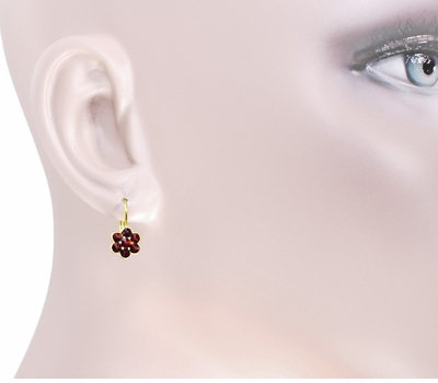Small Bohemian Garnet Victorian Drop Earrings in 14 Karat Yellow Gold and Sterling Silver Vermeil - Item E130 - Image 2