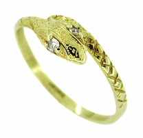 Snake Ring with Diamond Eyes in 14 Karat Gold