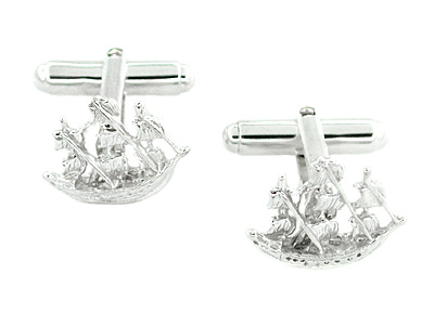 Spanish Galleon Sailing Ship Cufflinks in Sterling Silver