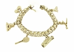 Sports Theme Charm Bracelet in 14 Karat Yellow Gold | Unique Charm Bracelet