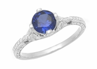 Art Deco Floral Filigree Lab Created Blue Sapphire Promise Ring in Sterling Silver