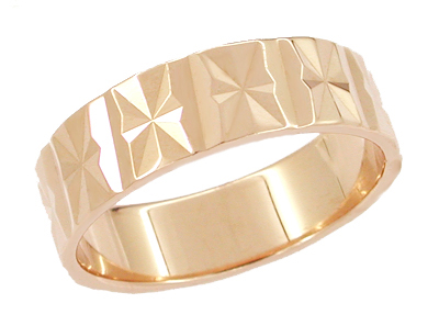 Starburst Antique Wedding Band in 14 Karat Rose Gold - Size 7 3/4