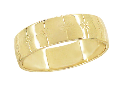 Starburst Mens Antique Wedding Band in 14 Karat Yellow Gold