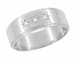 Starburst Three Diamond Cigar Wedding Band in 14 Karat White Gold