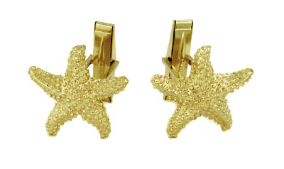 Starfish Cufflinks in 14 Karat Yellow Gold
