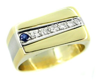 Straightline Diamond and Sapphire Vintage Ring in 14 Karat White and Yellow Gold