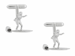 Surfer Cufflinks in Sterling Silver