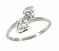 Sweethearts Diamond Set Bypass Ring in 10 Karat White Gold