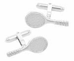 Tennis Racket Cufflinks in Sterling Silver