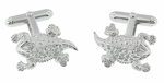 Horned Frog Cufflinks in Sterling Silver with Diamond Eyes - Texas Horned Lizard